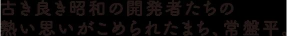 古き良き昭和の開発者たちの熱い思いがこめられたまち、常盤平。